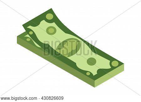 Isometric Stack Of Money. Currency Or Cash Icon. Bundle Of Banknotes. Stack Of Cash Symbol. Bills In