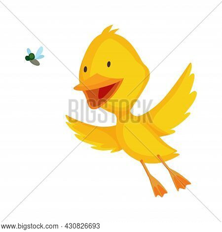 Cute Chick. Baby Cartoon Yellow Vector Duck. Bird Child Character In Funny Facial Expression, Pose A