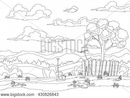 Coloring Of Spring Landscape With Grass, Hills, Sky With Clouds And Farm Implements. Nature Countrys