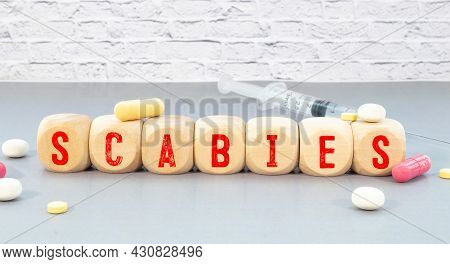 Concept Word Scabies On Cubes On A Blue Background.