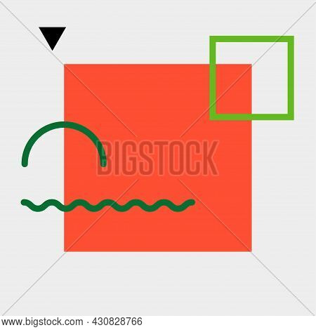 Geometric Pattern In Bauhaus Style. Simple Shapes, Squares And Triangles. Vector Illustration