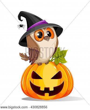 Happy Halloween. Cute Owl Sitting On Pumpkin Jack O Lantern With Creepy Face. Stock Vector Illustrat