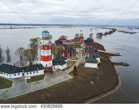 Spring, Flood, Oka Overflowed. The Fishing Village Hotel Near Ryazan City. Russia