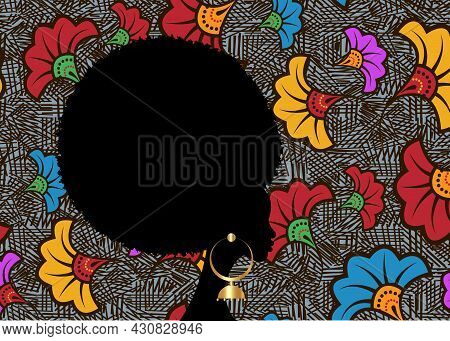 Portrait African Woman, Black Curly Afro Hair, Dark Skin Female Face With Curly Hairstyle Concept. E