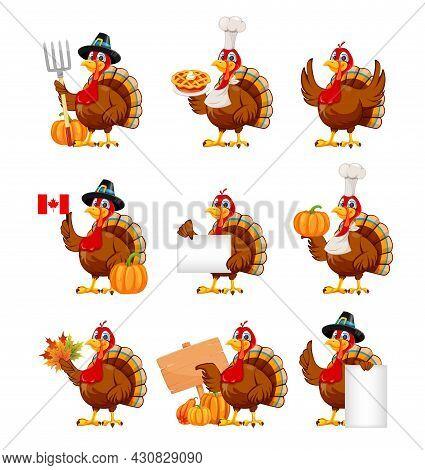 Happy Thanksgiving Day. Funny Cartoon Character Turkey Bird, Set Of Nine Poses. Stock Vector Illustr