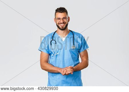 Healthcare Workers, Medicine, Covid-19 And Pandemic Self-quarantine Concept. Cheerful Smiling Hispan