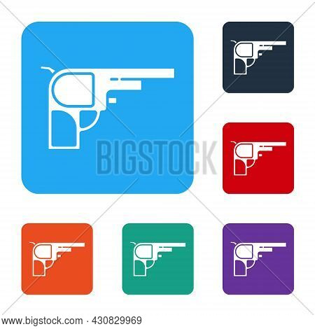 White Revolver Gun Icon Isolated On White Background. Set Icons In Color Square Buttons. Vector