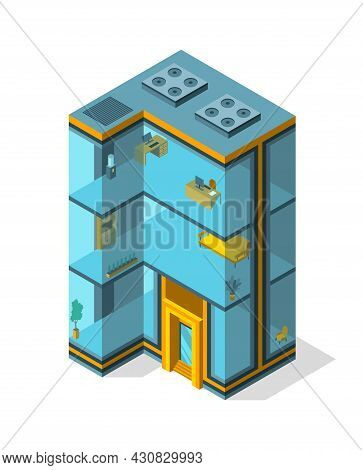 Business Building Isometric With Offices And Interior Furniture. Modern 3d Urban Office. Glass Archi