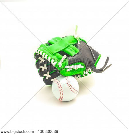 Close-up Leather Tee-ball Or Youth Baseball Gloves, Mitt Isolate Don White Background