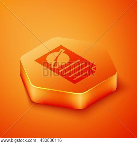Isometric Firearms License Certificate Icon Isolated On Orange Background. Weapon Permit. Orange Hex