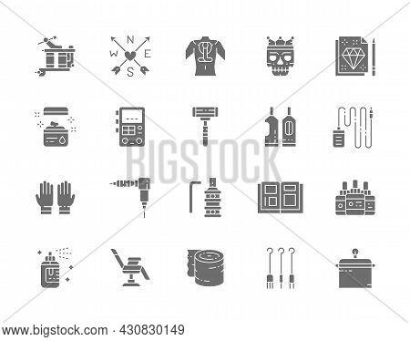 Set Of Tattoo Studio Gray Icons. Tattoo Machine, Vaseline, Power Machine Supply, Disposable Razor, R
