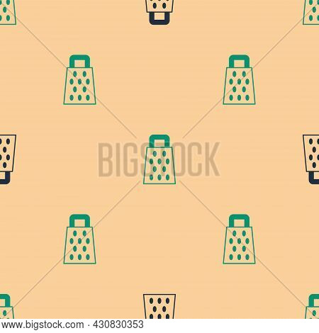 Green And Black Grater Icon Isolated Seamless Pattern On Beige Background. Kitchen Symbol. Cooking U