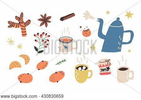 Tea Time Set. Boiling Teapot Or Kettle, Mug With Hot Herbal Tea, Cacao, Coffee, Chocolate Warming To