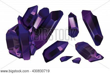 Purple Crystal Stone Set, Violet Jewel Stones Isolated On White Background. Purple Stones Mineral Am