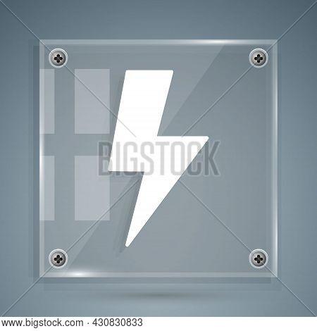 White Lightning Bolt Icon Isolated On Grey Background. Flash Sign. Charge Flash Icon. Thunder Bolt.