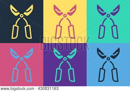 Pop Art Gardening Handmade Scissors For Trimming Icon Isolated On Color Background. Pruning Shears W