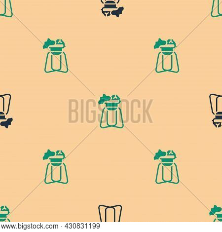 Green And Black Potted House Plant On Stand Icon Isolated Seamless Pattern On Beige Background. Plan