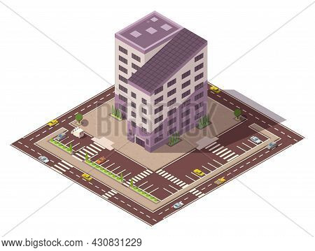 Vector Isometric High Rise Building And Street Elements With Place For Parking. City Or Town Map Con