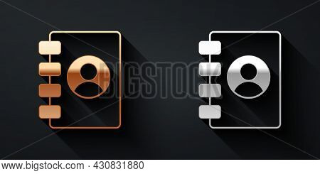 Gold And Silver Address Book Icon Isolated On Black Background. Notebook, Address, Contact, Director