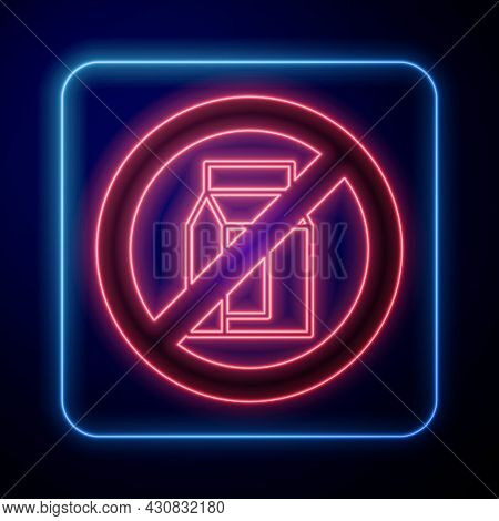 Glowing Neon No Pack Of Milk Icon Isolated Glowing Neon Background. Not Allow Milk. Allergy Concept,