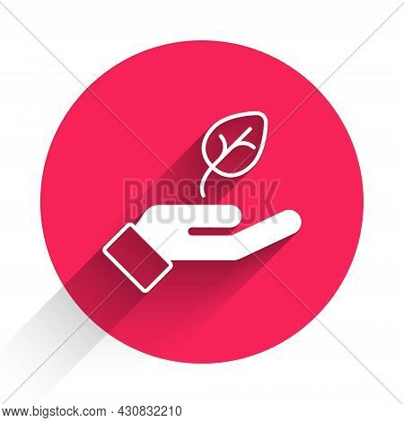 White Plant In Hand Of Environmental Protection Icon Isolated White Background. Seed And Seedling. P