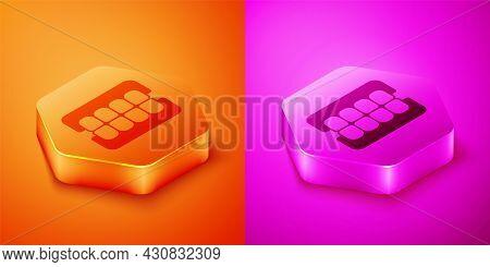 Isometric False Jaw Icon Isolated On Orange And Pink Background. Dental Jaw Or Dentures, False Teeth