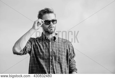 See It Clear. Handsome Guy Wear Sunglasses. Hipster Man In Trendy Sunglasses. Fashionable Sunglasses