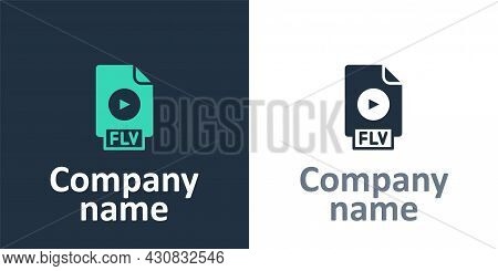Logotype Flv File Document Video File Format. Download Flv Button Icon Isolated On White Background.