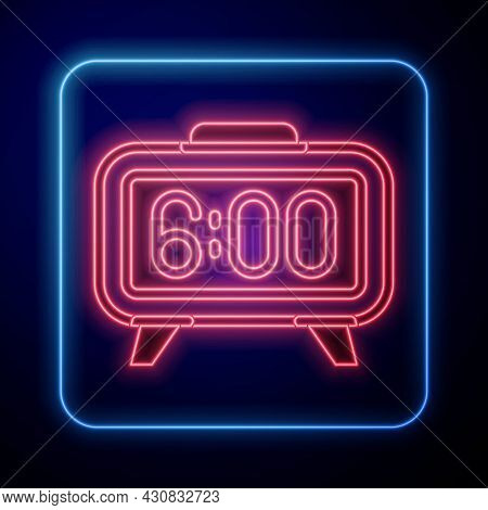 Glowing Neon Digital Alarm Clock Icon Isolated On Black Background. Electronic Watch Alarm Clock. Ti
