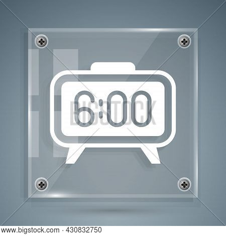 White Digital Alarm Clock Icon Isolated On Grey Background. Electronic Watch Alarm Clock. Time Icon.