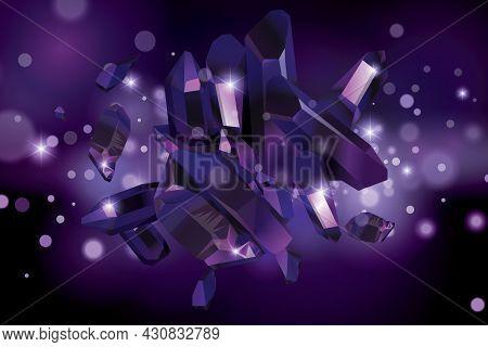 Purple Quartz Crystal Background. Purple Gems. Violet Crystals Vector Background.