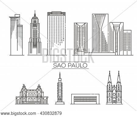 Sao Paulo, Detailed Monuments Silhouette. Vector Illustration