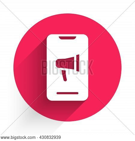 White Protest Icon Isolated With Long Shadow. Meeting, Protester, Picket, Speech, Banner, Protest Pl