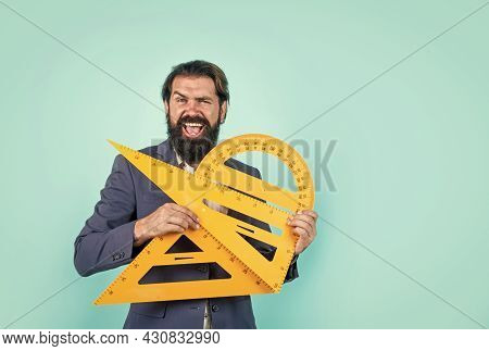 Happy Math Man Teacher Use Protractor And Triangle Tool, School Formal Education