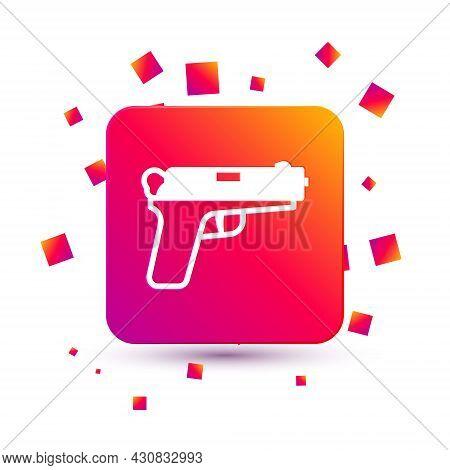 White Pistol Or Gun Icon Isolated On White Background. Police Or Military Handgun. Small Firearm. Sq