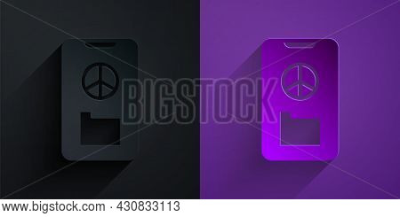 Paper Cut Peace Icon Isolated On Black On Purple Background. Hippie Symbol Of Peace. Paper Art Style