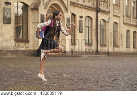 Go For The Great. Happy Child Go To School On September 1. First Day Of School. September 1. Back To