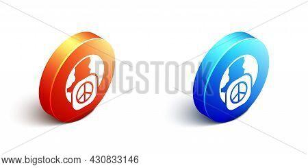 Isometric International Day Of Peace Icon Isolated On White Background. World Peace. Orange And Blue