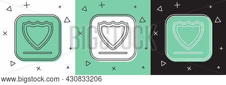 Set Shield Icon Isolated On White And Green, Black Background. Guard Sign. Security, Safety, Protect