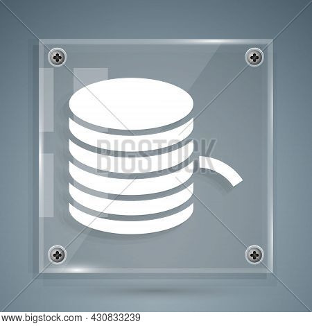White Plastic Filament For 3d Printing Icon Isolated On Grey Background. Square Glass Panels. Vector