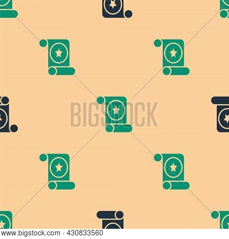 Green And Black Magic Scroll Icon Isolated Seamless Pattern On Beige Background. Decree, Paper, Parc