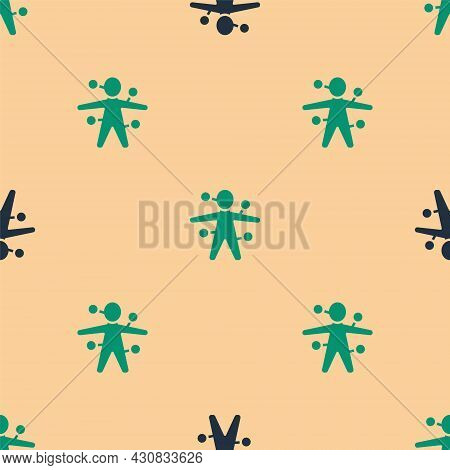 Green And Black Voodoo Doll Icon Isolated Seamless Pattern On Beige Background. Vector