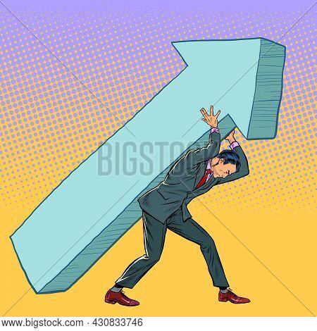 Businessman Carries An Arrow. Direction Motivation Signpost Business