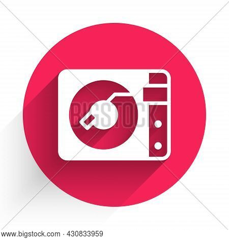 White Vinyl Player With A Vinyl Disk Icon Isolated With Long Shadow. Red Circle Button. Vector