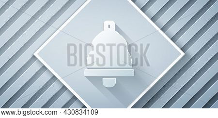 Paper Cut Church Bell Icon Isolated On Grey Background. Alarm Symbol, Service Bell, Handbell Sign, N