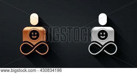 Gold And Silver Friends Forever Icon Isolated On Black Background. Everlasting Friendship Concept. L