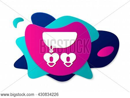 Color Necklace With Heart Shaped Pendant Icon Isolated On White Background. Jewellery Decoration. In