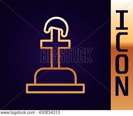 Gold Line Soldier Grave Icon Isolated On Black Background. Tomb Of The Unknown Soldier. Vector