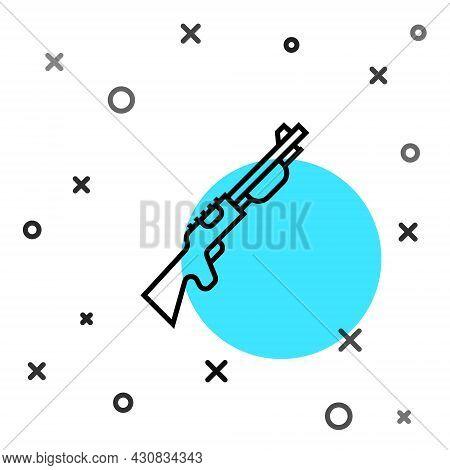 Black Line Hunting Gun Icon Isolated On White Background. Hunting Shotgun. Random Dynamic Shapes. Ve