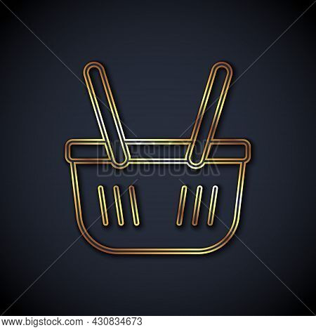 Gold Line Shopping Basket Icon Isolated On Black Background. Online Buying Concept. Delivery Service